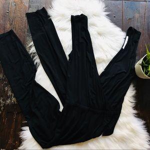 LOVERS + FRIENDS Black Pants Jumpsuit Criss Front